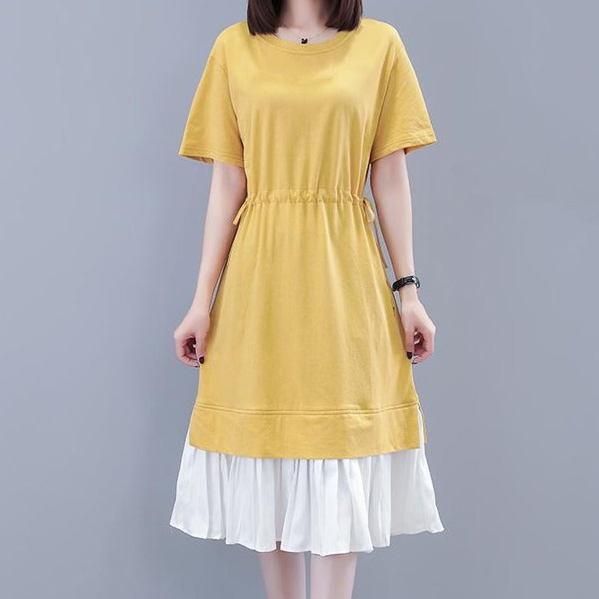 (Pre-Order) Mock 2 Piece Contrast Waist Tie Loose Fit Midi Dress in Yellow