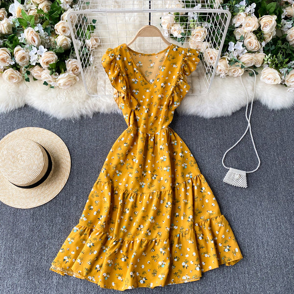(Pre-Order) Floral V Neck Ruffles Sleeve Gypsy Midi Dress in Yellow