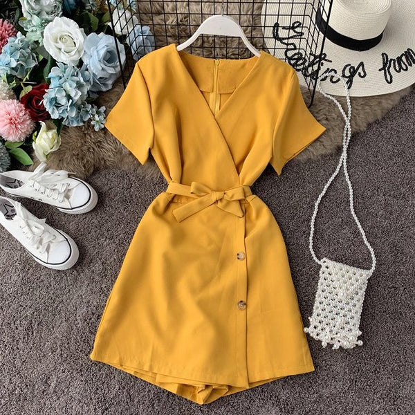 (Pre-Order) V-Neck Overlap Side Button Romper in Yellow