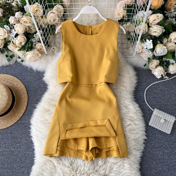 (Pre-Order) High Waist Front Cut-Out Romper in Yellow