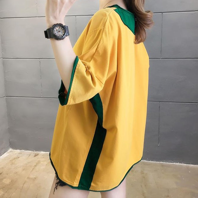 (Pre-Order) Sleeve Contrast Patch Pocket Loose Fit Top in Yellow