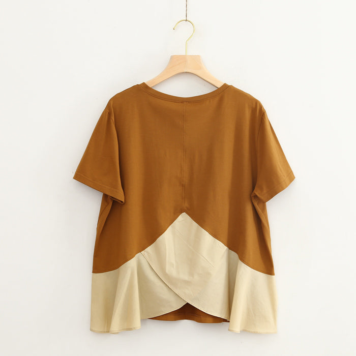 (Pre-Order) Round Neck Ruffles Asymmetrical Patched Loose Fit Top in Yellow-Brown