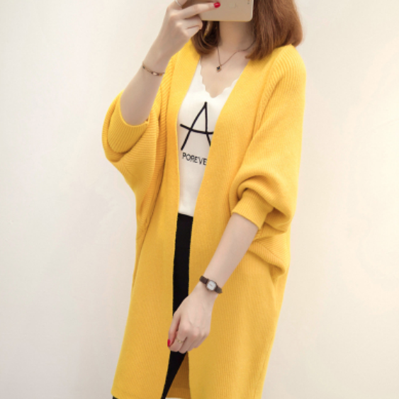 (Pre-Order) Knit Long Cardigan in Yellow