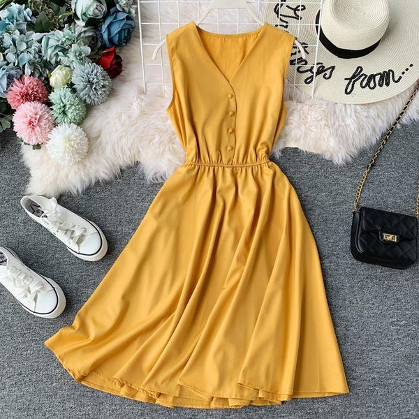 (Pre Order) Sleeveless V Neck High Waist Dress In Yellow