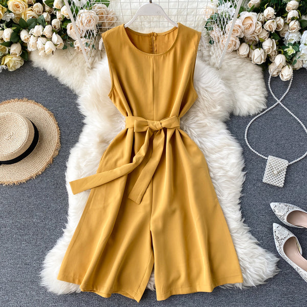 (Pre-Order) Sleeveless Ribbon Tie Wide Leg Romper in Yellow