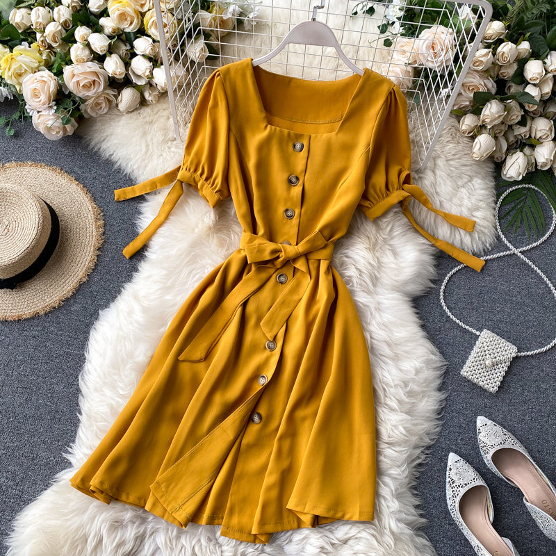 (Pre-Order) Ribbon Tie Square Neck Button Up Balloon Sleeve Dress in Yellow