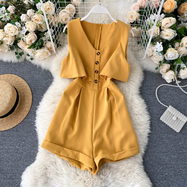 (Pre-Order) Sleeveless V Neck High Waist Wide Leg Romper in Yellow