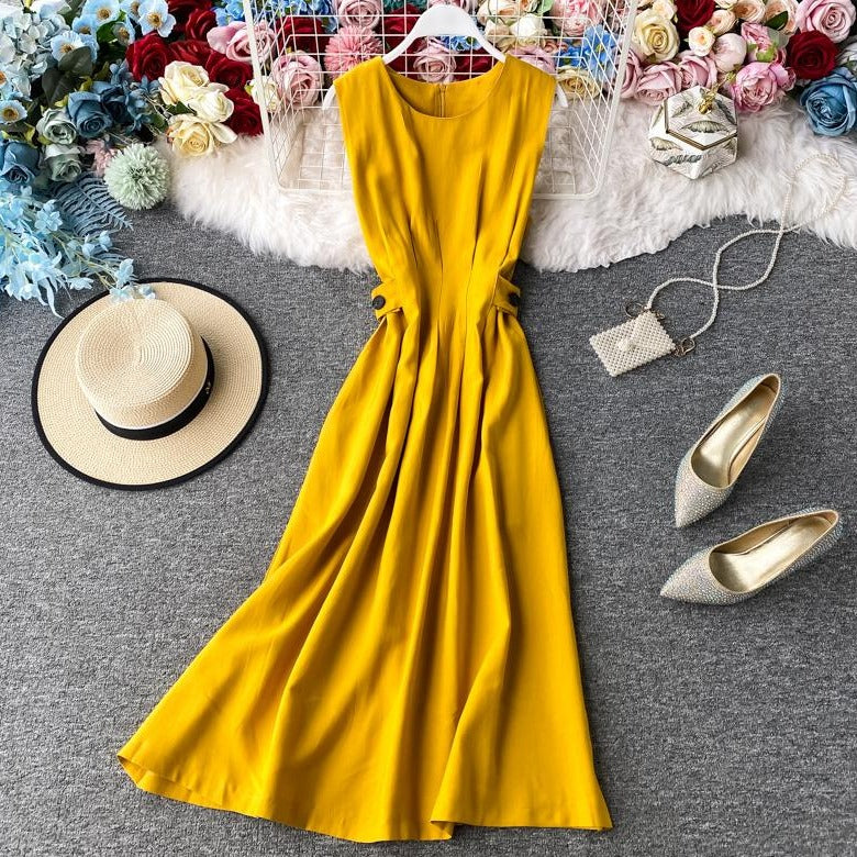 (Pre-Order) Round Neck Sleeveless Pleat Maxi Dress in Yellow