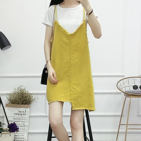 (Pre-Order) Asymmetrical V Denim Spag Pinafore in Yellow