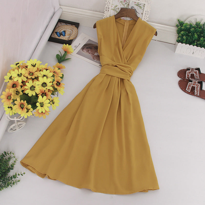 (Pre Order) V Neck Sleeveless Ribbon Dress in Yellow
