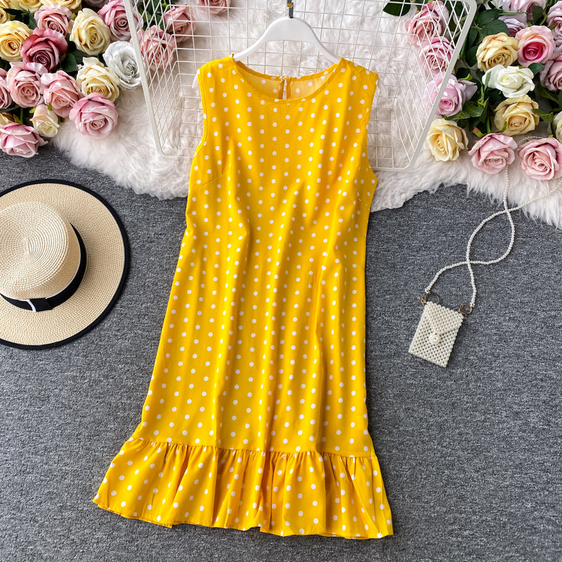 (Pre-Order) Basic Ruffles Polka Dots Sleeveless Loose Fit Shift Dress in Yellow