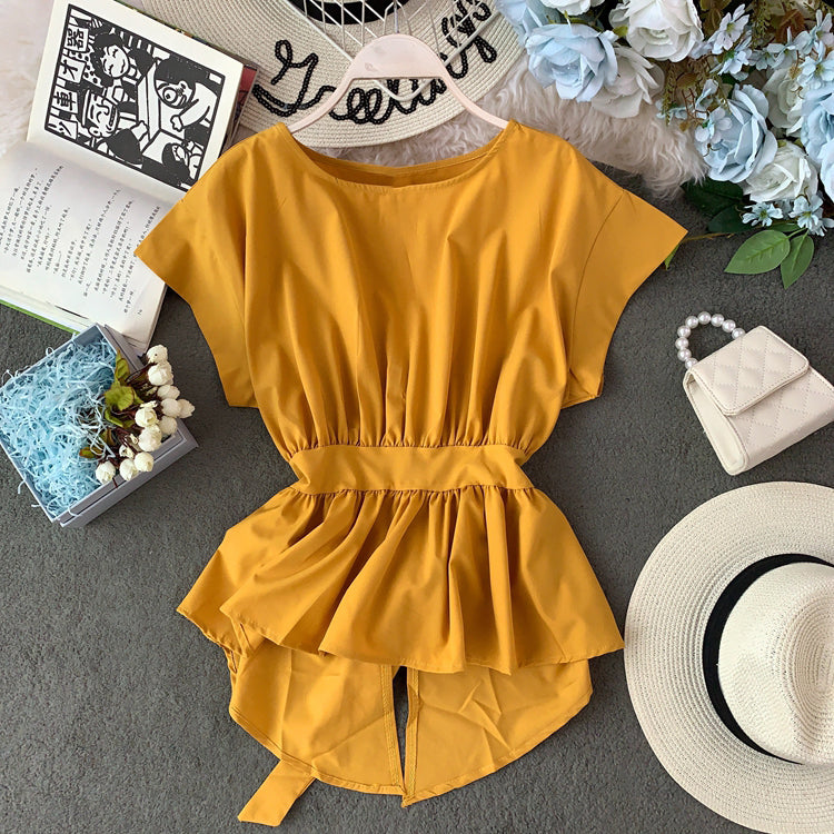 (Pre-Order) Asymmetrical Ruffles Ribbon Tie Bat Sleeve Top in Yellow