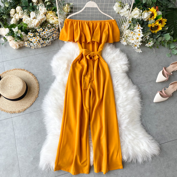 (Pre-Order) Off-Shoulder Ruffles High Waist Wide Leg Jumpsuit in Yellow