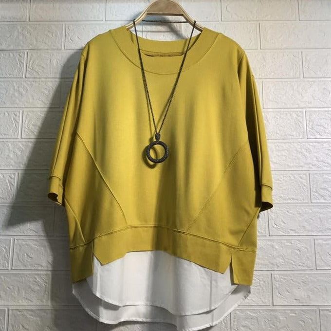 (Pre-Order) Mock 2 Piece Contrast Loose Fit Top in Yellow