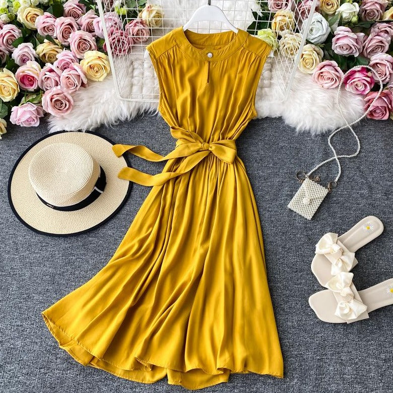(Pre-Order) Sleeveless Round Neck Cut-Out Maxi Dress in Yellow