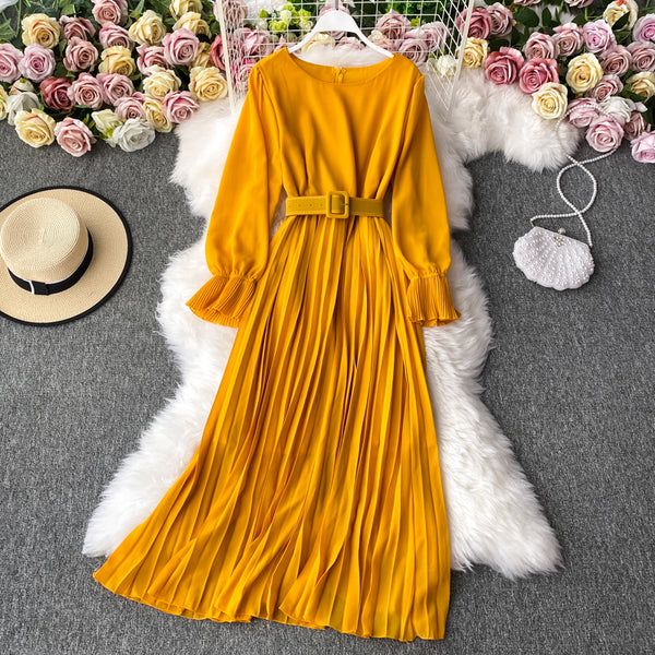 (Pre-Order) Round Neck Pleated Ruffles Long Sleeve Maxi Dress in Yellow