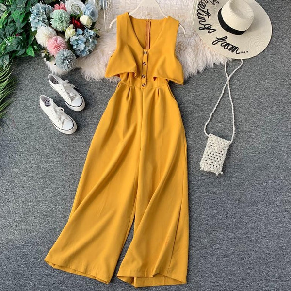 (Pre-Order) Sleeveless V Neck High Waist Wide Leg Jumpsuit in Yellow