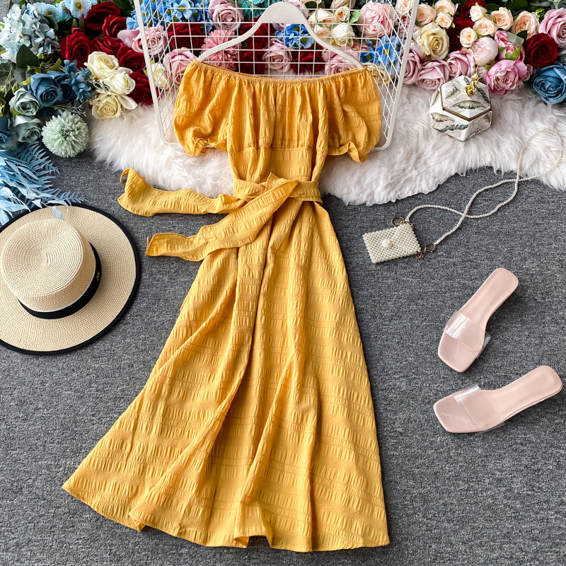 (Pre-Order) Off-Shoulder Ribbon Tie Balloon Sleeve Midi Dress in Yellow