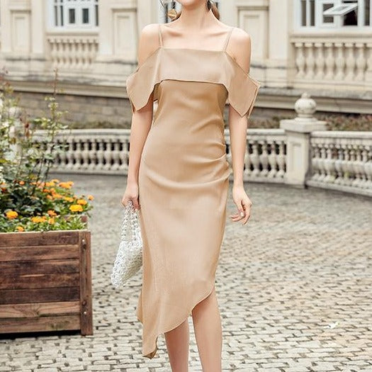 Asymmetrical Spag Cold-Shoulder Dress in Beige