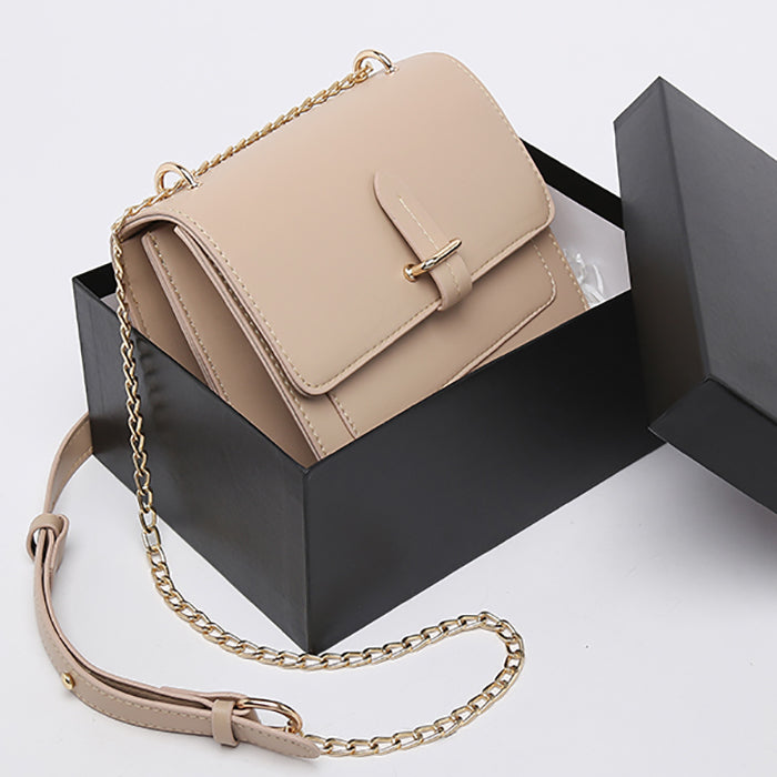 (Pre-Order) Chain Double Layer Rectangular Bag in Beige