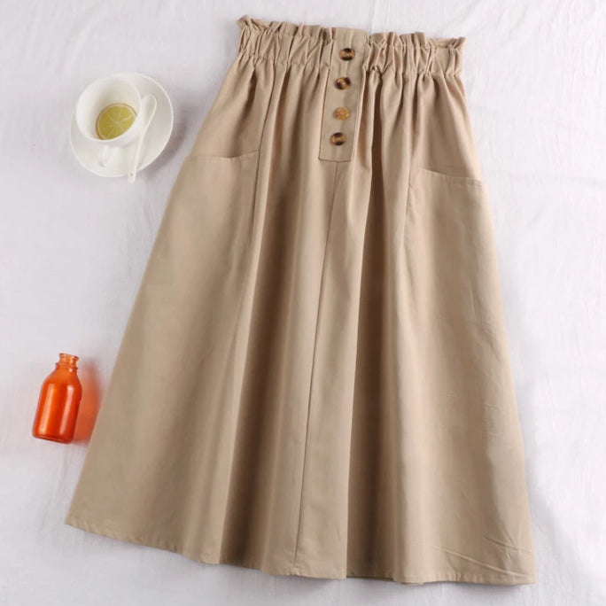 (Pre-Order) Sides Large Pockets High Waist Midi Skirt In Beige