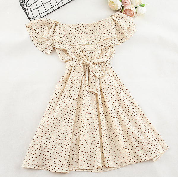 (Pre-Order) Double Ruffles Dots Off-Shoulder Dress in Beige