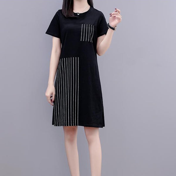 (Pre-Order) Short Sleeve Stripes Patch Loose Fit Dress in Black