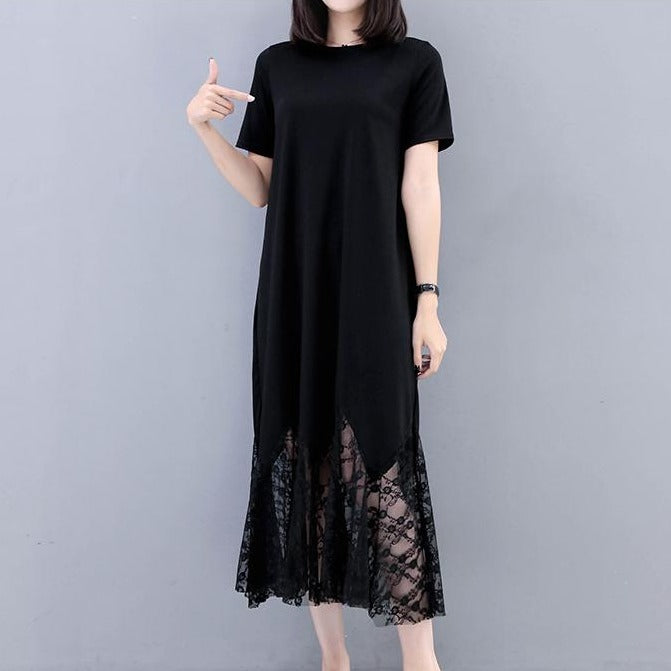 (Pre-Order) Sleeve Lace Maxi Dress in Black