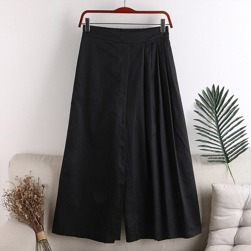(Pre-Order) Half Pleats High Waist Loose Fit Wide-Leg Culottes in Black