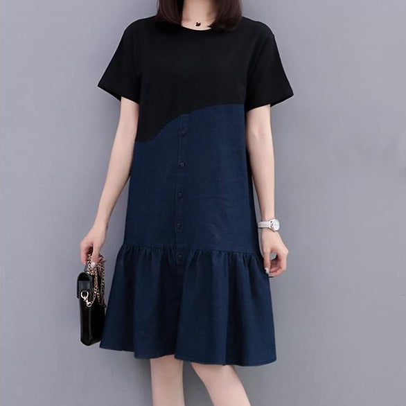 (Pre-Order) Denim Ruffles Patch Sleeve Loose Fit Dress in Black