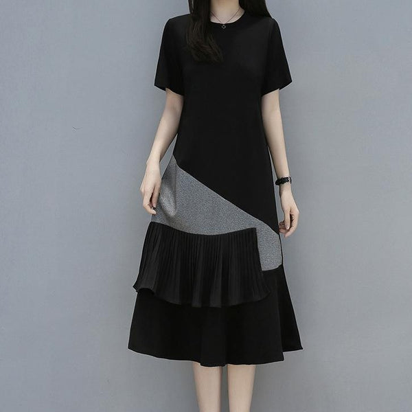 (Pre-Order) Asymmetrical Short Sleeve Textured Patch Midi Dress in Black-Grey