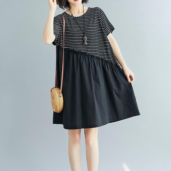 (Pre-Order) Pinstripes Patched Loose Fit Babydoll Dress in Black