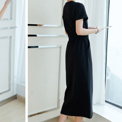 (Pre-Order) Basic Waist Tie Round Neck Loose Fit Midi Dress in Black