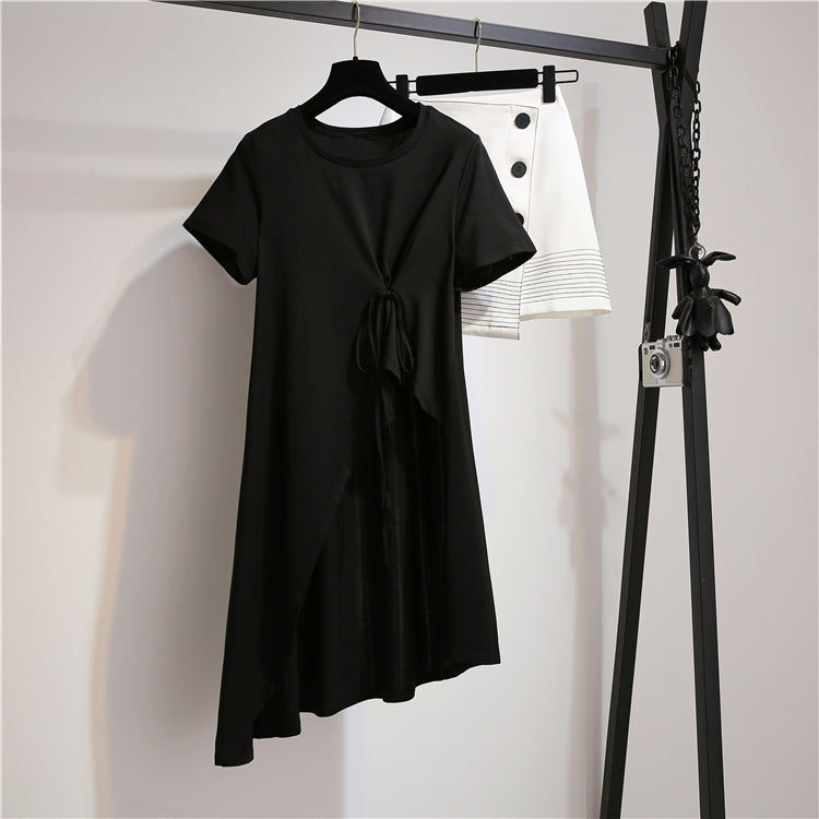 (Pre Order) 2 Piece Asymmetrical Contrast Loose Fit Suit in Black