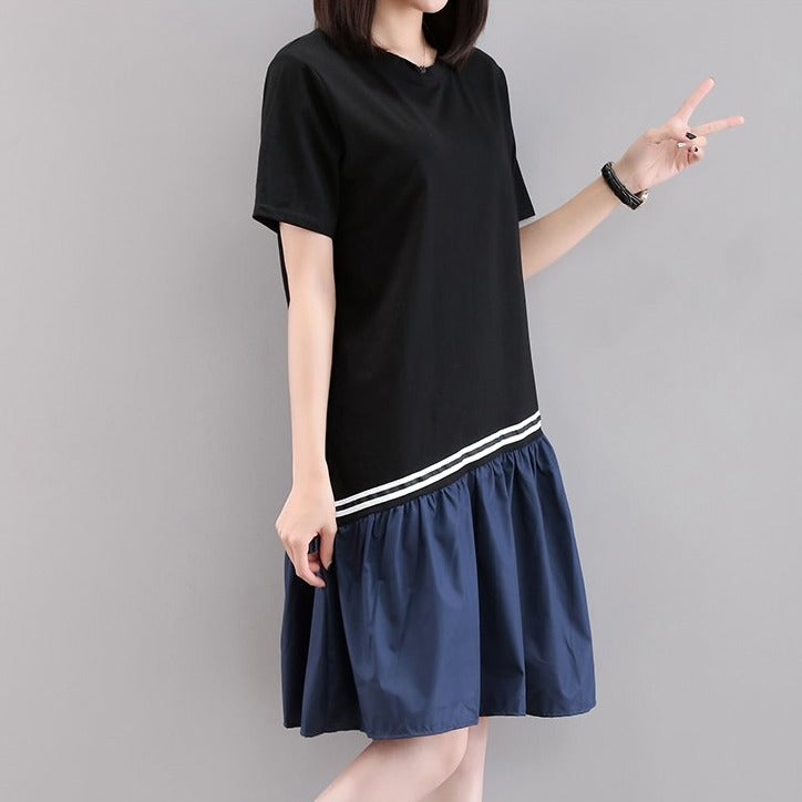 (Pre-Order) Sleeve Asymmetrical Contrast Patched Loose Fit Dress in Black-Blue