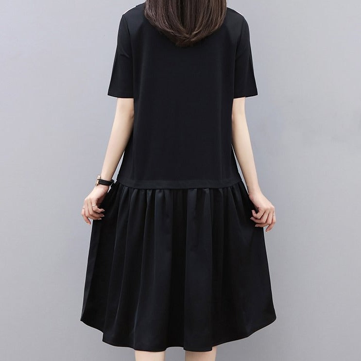 (Pre-Order) Contrast Sleeve Pleated Loose Fit Tee Dress in Black