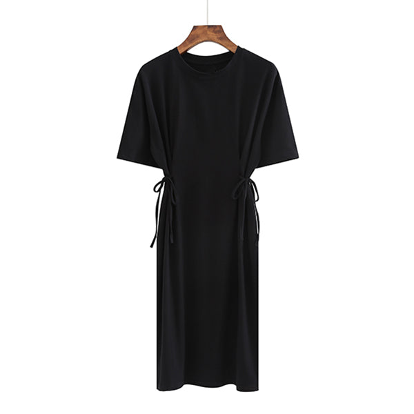 (Pre-Order) Round Neck Side Tie Sleeve Tee Dress in Black