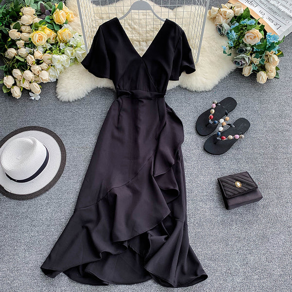 (Pre-Order) V Neck Bell Sleeve Asymmetrical Midi Dress in Black