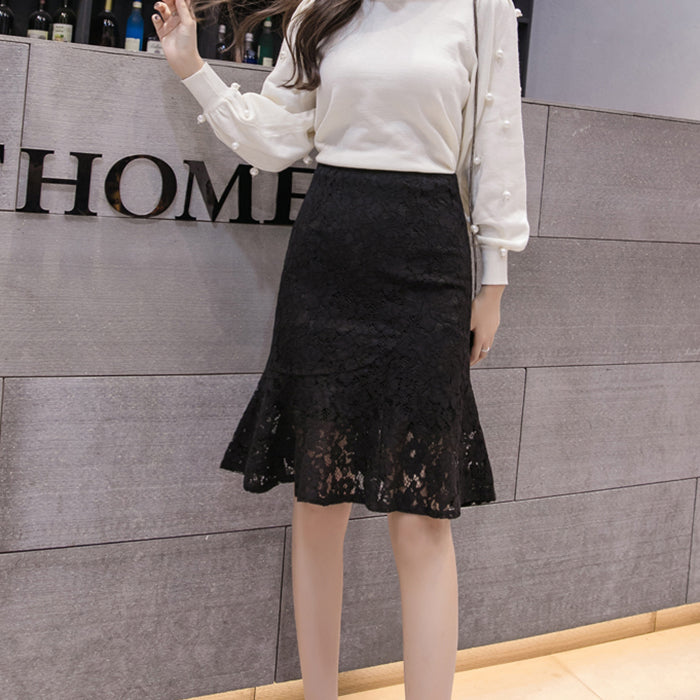 (Pre-Order) High Waist Lace Skirt in Black
