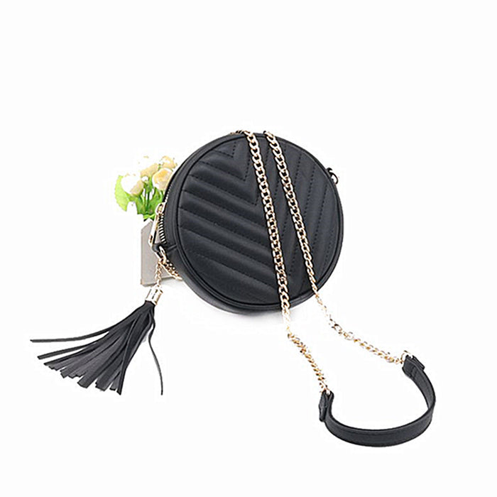 (Pre-Order) Chain Mini Round Tassel Bag in Black