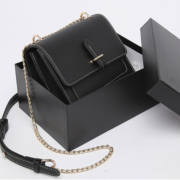 (Pre-Order) Chain Double Layer Rectangular Bag in Black