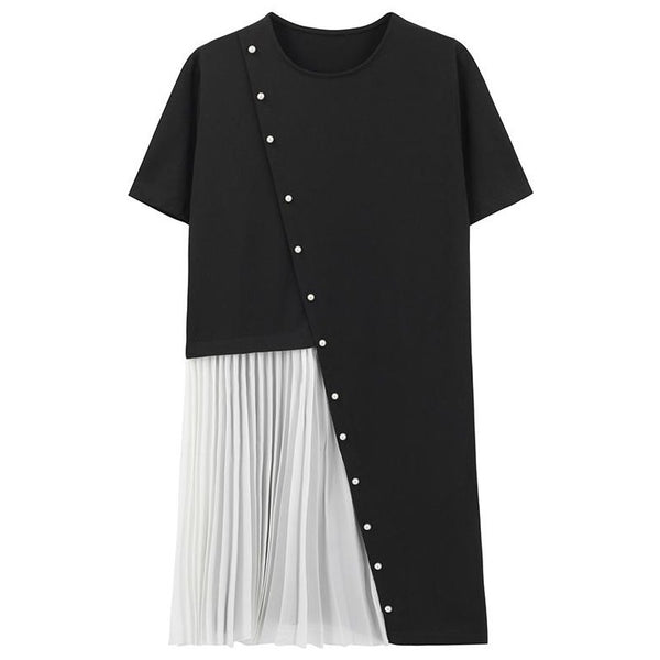 (Pre-Order) Pearl Asymmetrical Patched Pleated Loose Fit Dress in Black