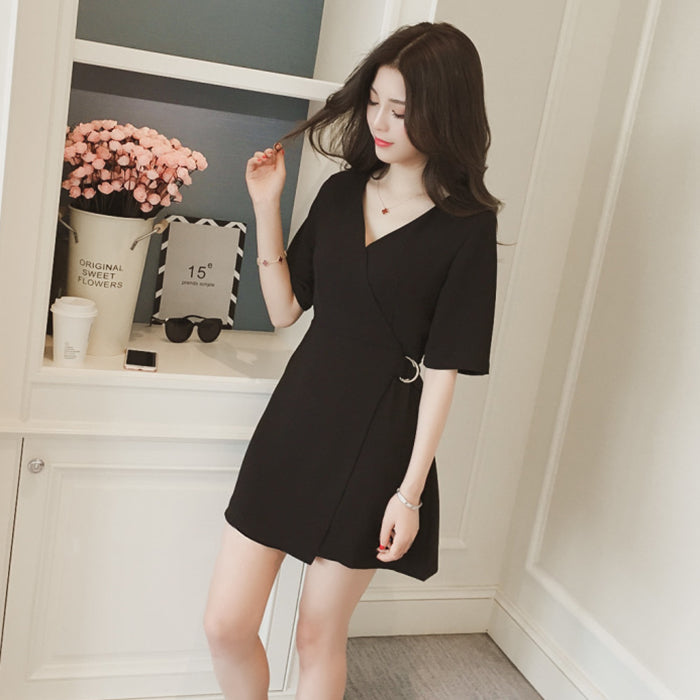 (Pre-Order) V Overlap Side Buckle Dress in Black