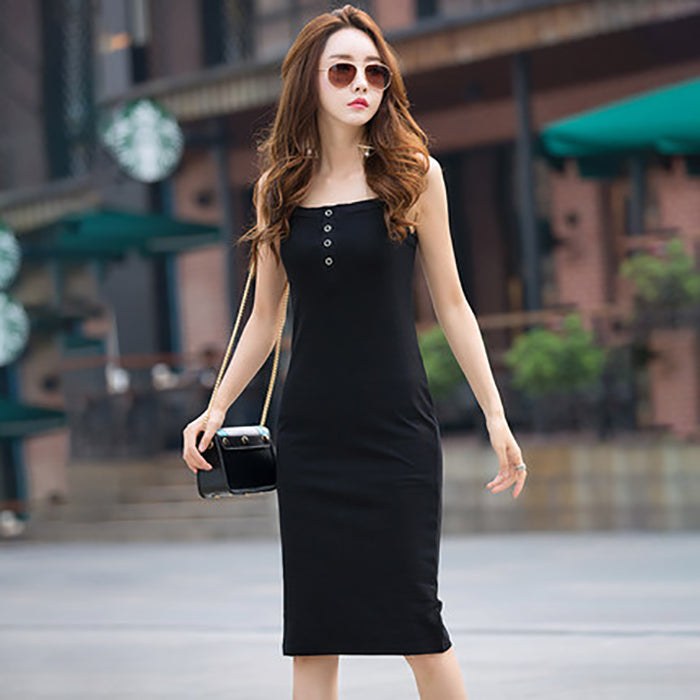 (Pre-Order) Basic Spag Bodycon Midi Dress in Black