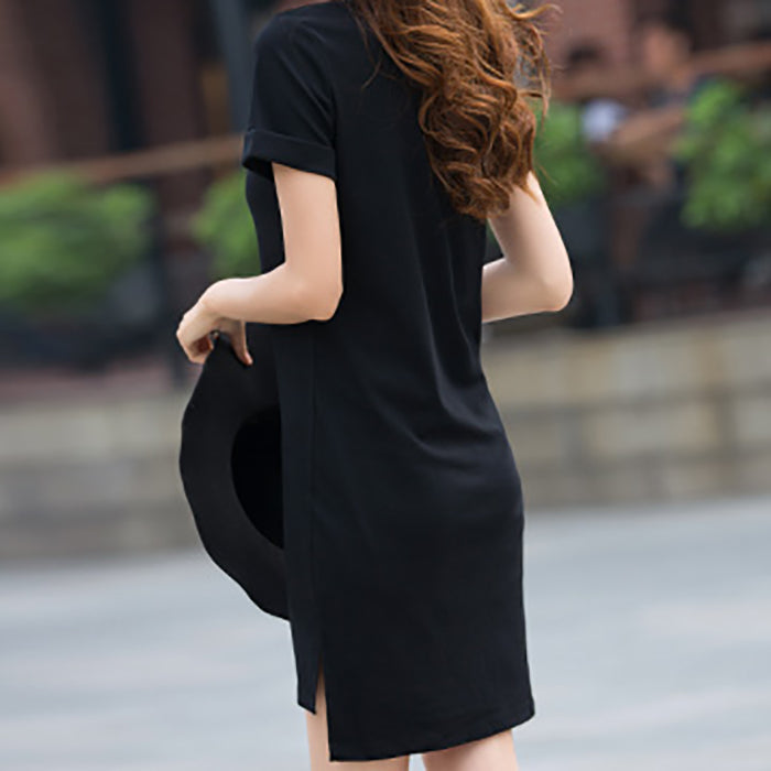 (Pre-Order) Short Sleeve Round Neck Tee Dress in Black