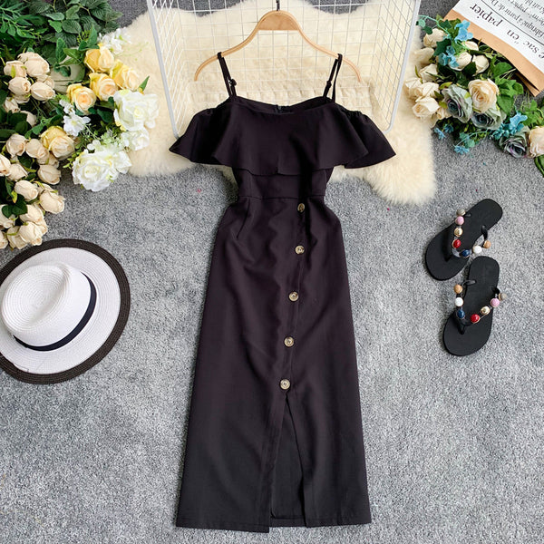 (Pre-Order) Spag Ruffles Cold-Shoulder Button Up Midi Dress in Black