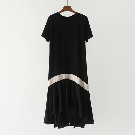 (Pre-Order) Ruffles Asymmetrical Colourblock Dress in Black