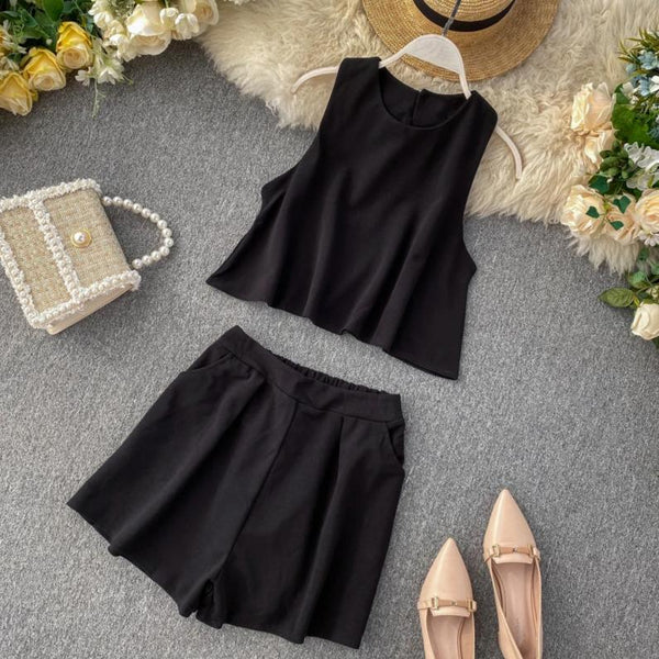 (Pre-Order) 2 Piece Sleeveless High Waist Wide Leg Suit in Black