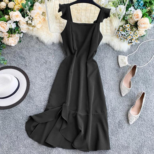 (Pre-Order) Ruffles Square Collar Sleeveless Maxi Dress in Black