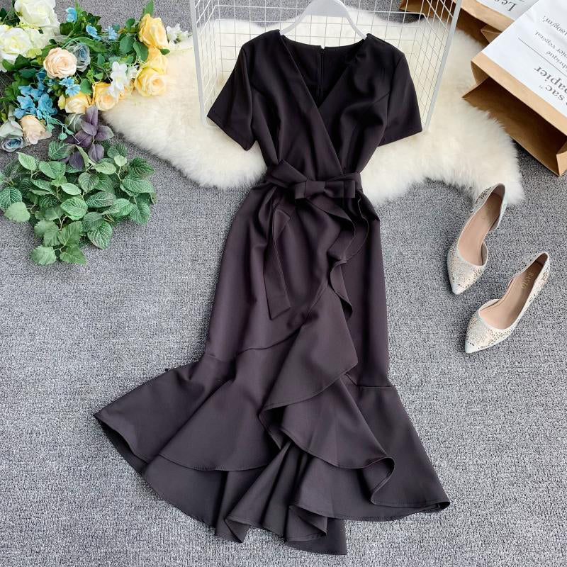 (Pre-Order) V Neck Sleeve Ribbon Asymmetrical Ruffles Midi Dress in Black